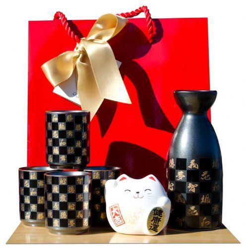 Gift bag – White cat & Chequered Sake set metallic black - Japanese 4 cups